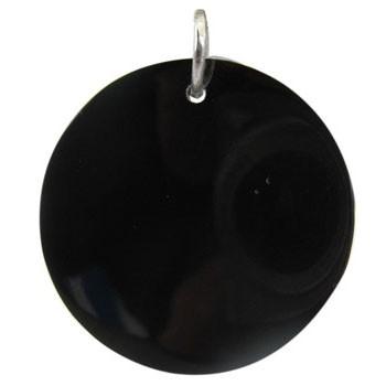 Hänger, schwarze Muschel, offener Biegering  Durchmesser 50mm