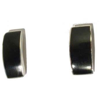Ohrstecker, Muschel, schwarz   ca. 15 x 6 mm