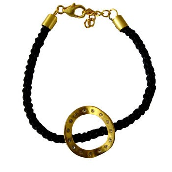 Armband, Leder, schwarz  Silber,vergoldet, Circonia  Durmesser des Aufsatzes ca. 22mm