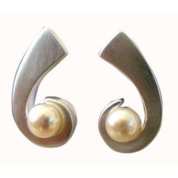 Ohrstecker, Silber mit Perle ca. 25 x 20 m