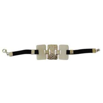 Armband mit weissen Hornelementen ( 30x20mm) und Alcantara
