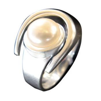 offener Ring, Silber, Zuchtperle